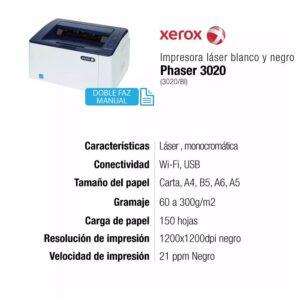 Impresora Xerox Phaser 3020 láser monocromática Wi-fi Negro